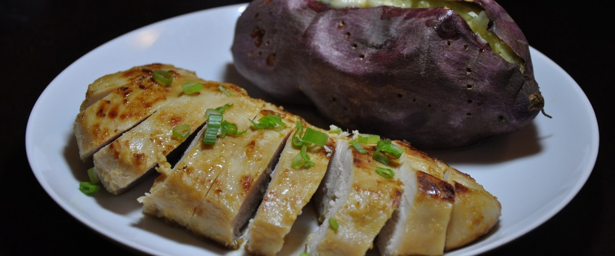 Roasted Japanese Sweet Potatoes with Scallion Butter