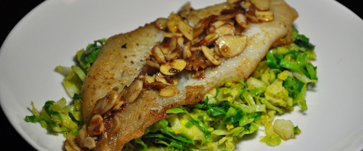 Dover Sole Almondine with Brussels Sprouts