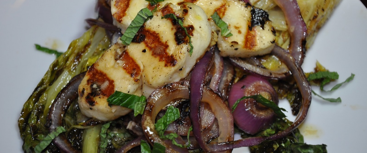 Grilled Romaine and Halloumi Cheese with Mint Vinaigrette