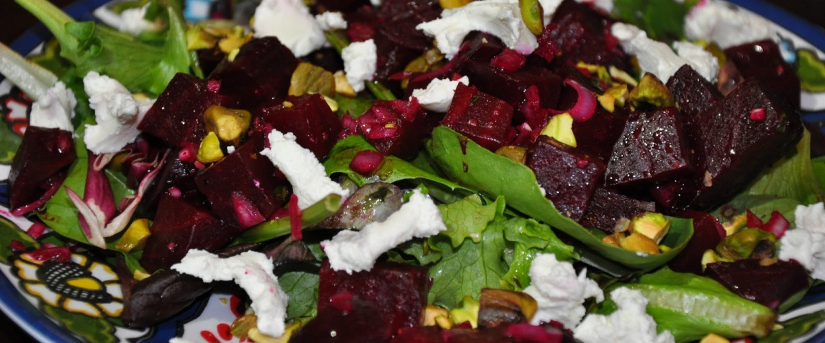 Roasted Beet Salad with Goat Chese and Pistachios