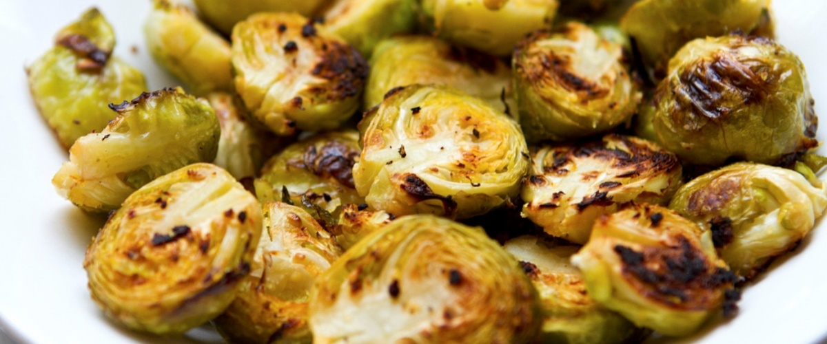Oven-Roasted Brussels Sprouts with chipotle-lemon aioli