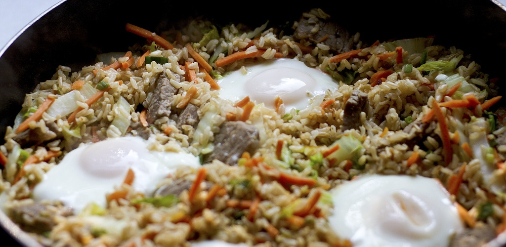 Crisped Brown Rice with Beef, Vegetables and Eggs