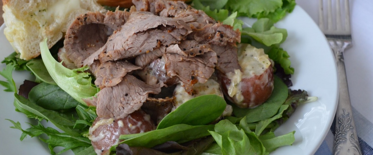 Steak with Potato Salad and Fresh Greens