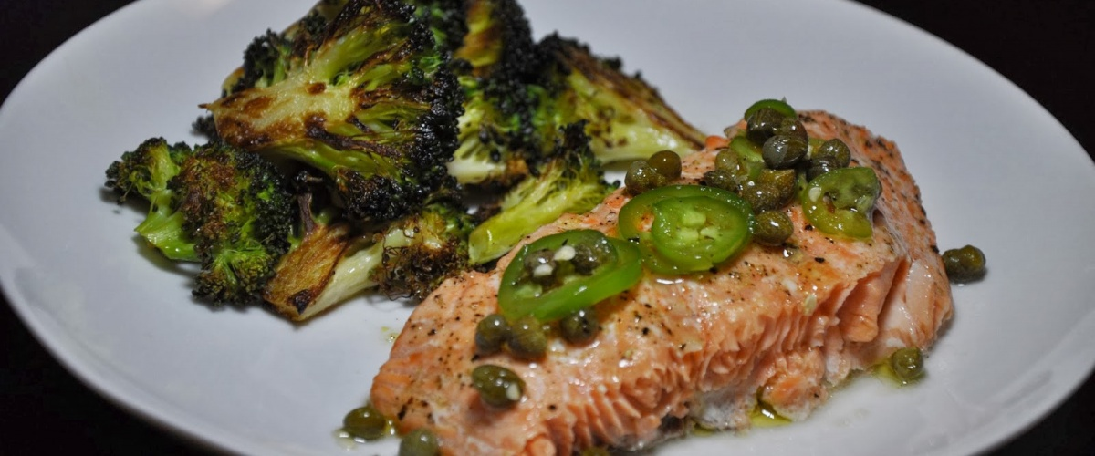 Roast Salmon and Broccoli with Chili-Caper Vinaigrette