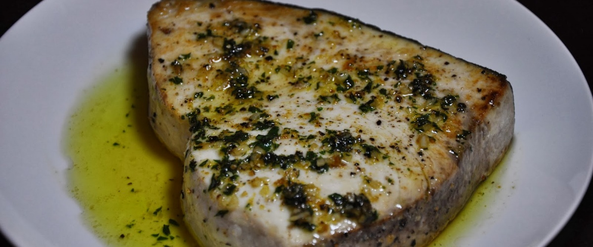 Pan-Roasted Swordfish Steaks with Peppercorn Butter