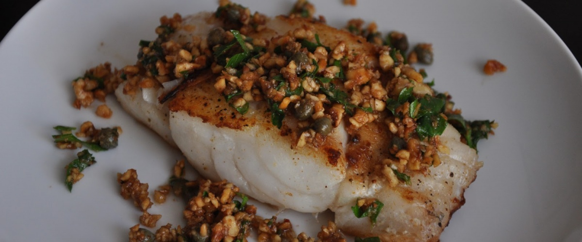 Hake with Hazelnuts and Capers