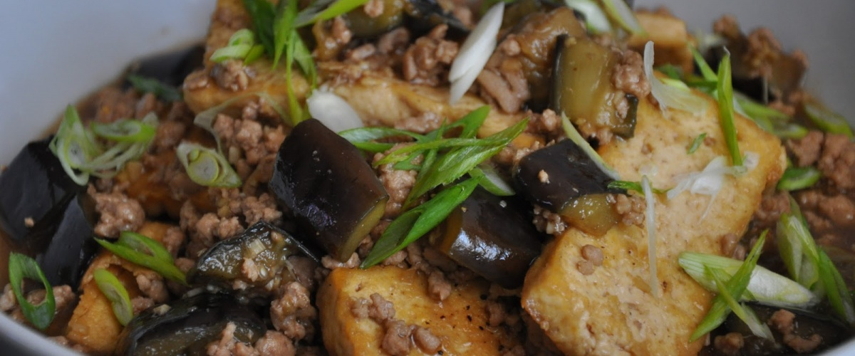 Chinese Braised Tofu and Eggplant with Ground Pork