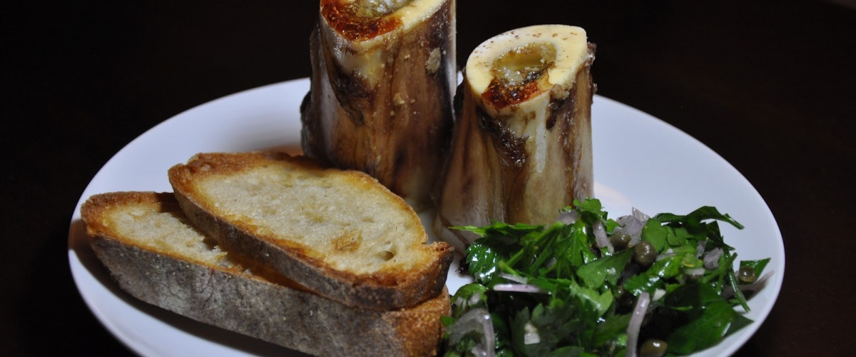 Roast Bone Marrow with Parsley Salad