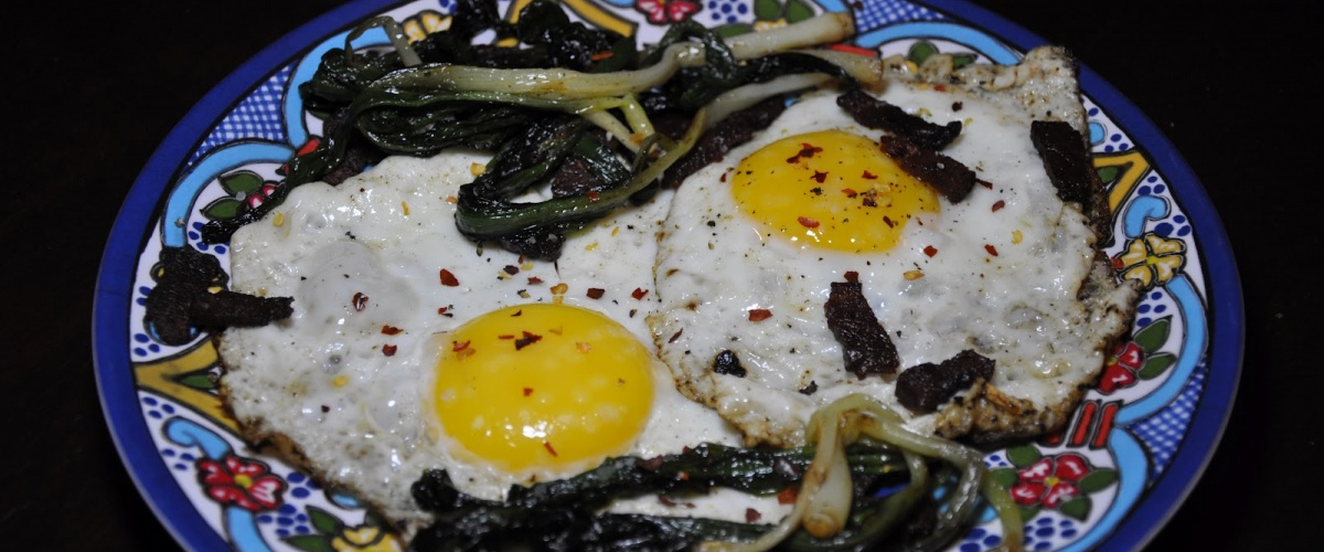 Fried Eggs with Sauteed Ramps and Duck Bacon