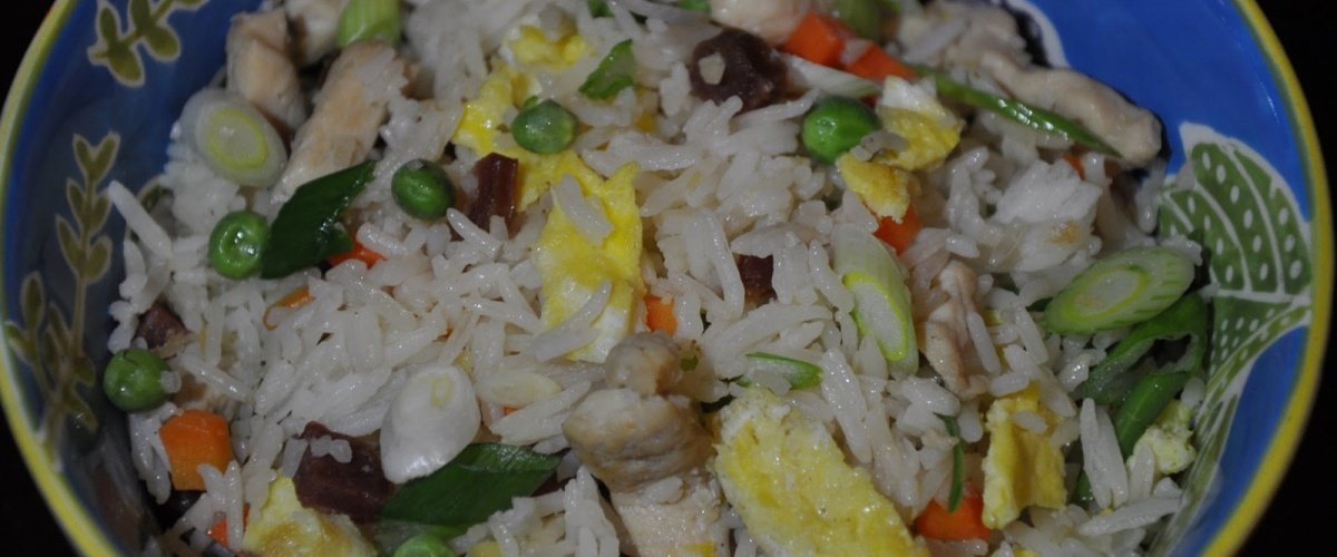 Fried Rice with Chicken and Chinese Sausage