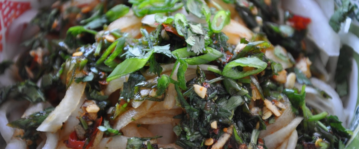Daikon Slivers in a Spicy Dressing