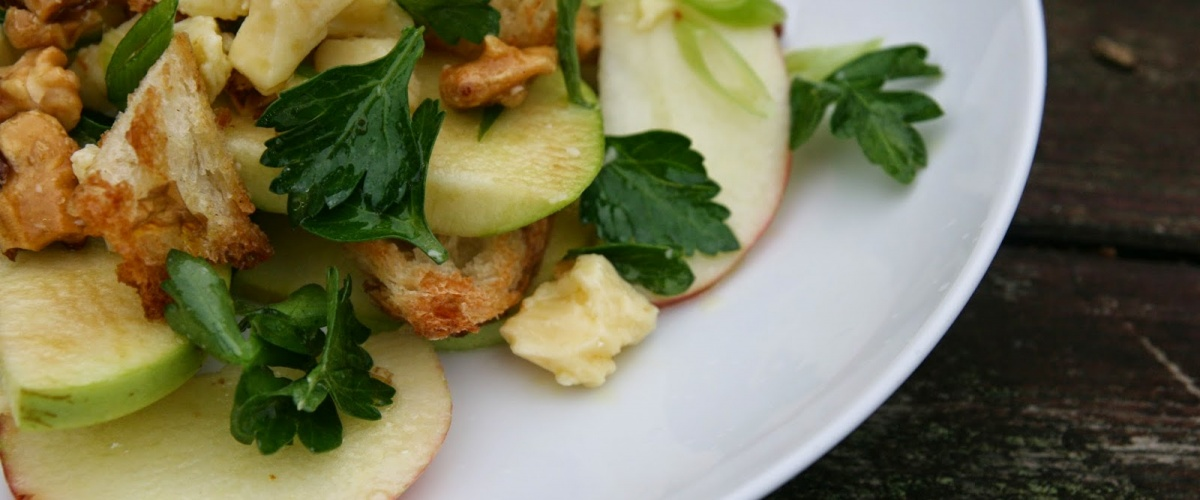 Apple Walnut Salad with Bread, Cheddar and Lime