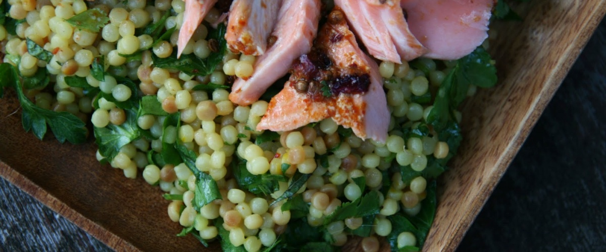 Harissa Salmon with Lemony Herbed Couscous