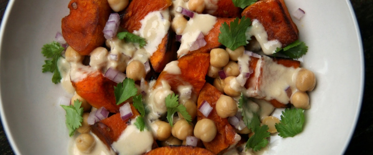 Warm Butternut Squash and Chickpea Salad with Tahini
