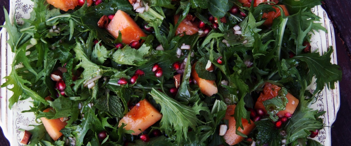 Mizuna, Melon and Pomegranate Salad