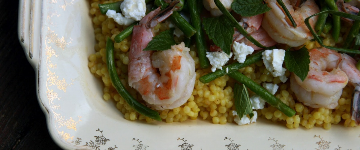 Israeli Couscous with Garlic Scapes, Shrimp and Feta