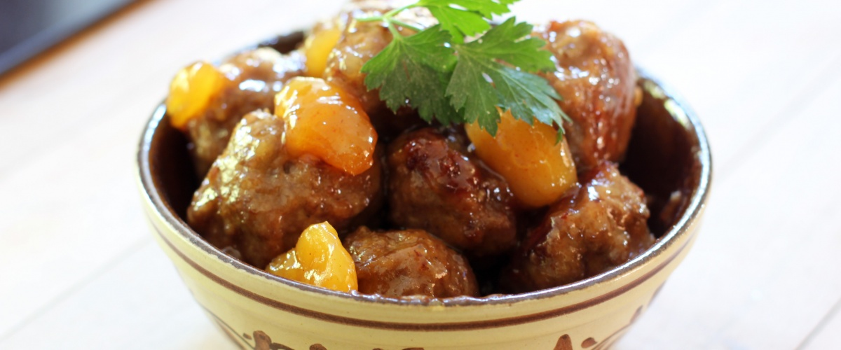 Major Grey Chutney Glazed Lamb Meatballs