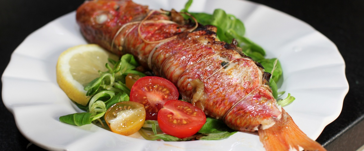 Red Mullet Stuffed with Aubergine