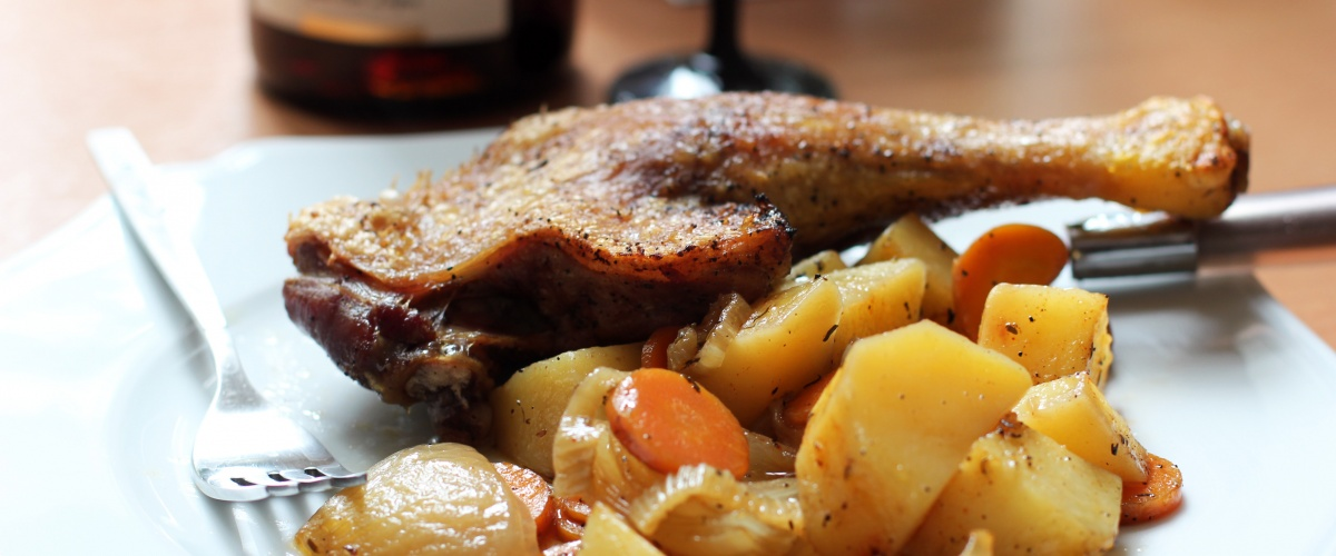 Crispy Duck Legs with Roasted Vegetables