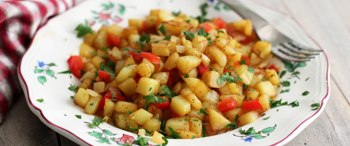 Pan Fried Potatoes with Red Bell Pepper