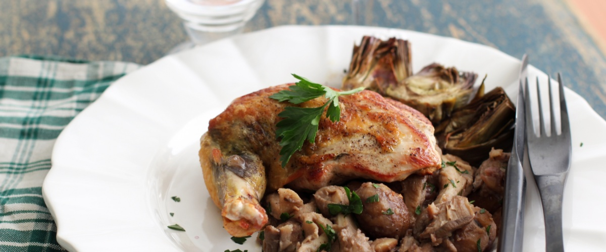 Guinea Fowl with Mushrooms and Chestnuts