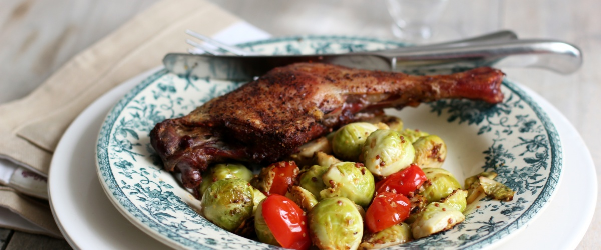 Butter Roasted Duck Legs with Brussel Sprouts