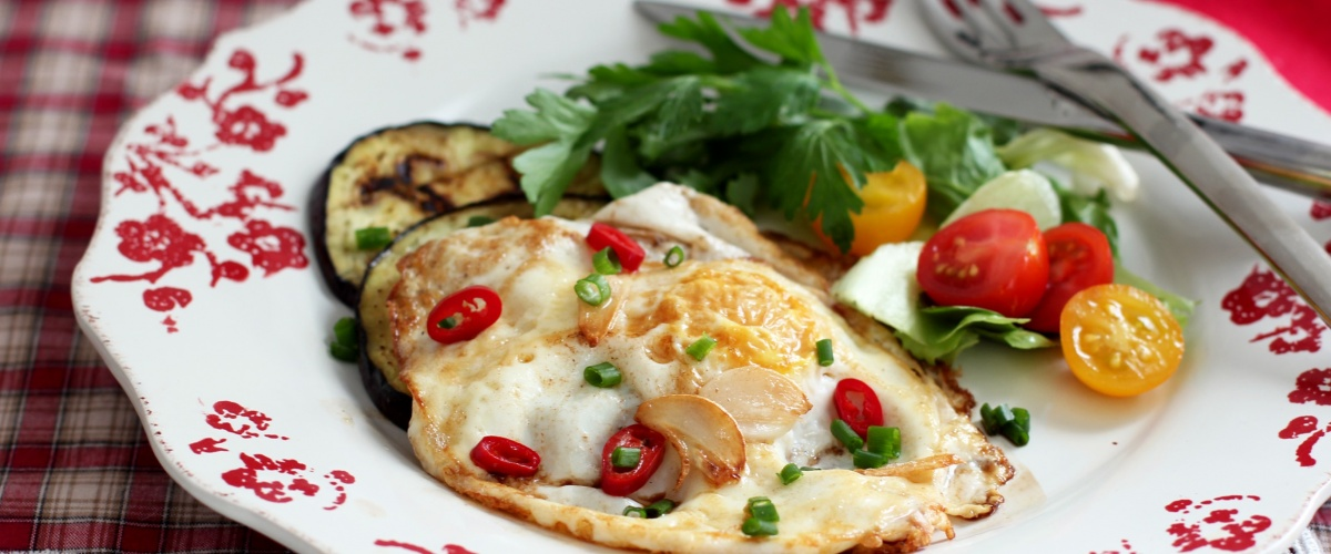 Spicy Fried Egg with Aubergine